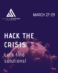 Hack the Crisis Online Hackathon Plakat Digital Makers Hub Austrian Startups